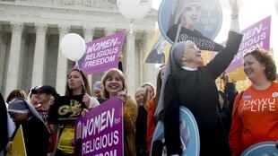 Members of religious groups protested outside the US Supreme Court in 2016 as it considered a case involving restrictions on birth control