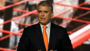 El presidente de Colombia, Iván Duque, durante la Cumbre Concordia Américas, en Bogotá, Colombia, el 13 de mayo de 2019.