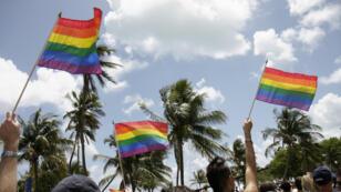 La gay pride à Ocean Drive, une rue de Miami Beach.