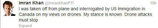 """""""J'ai été débarqué de l'avion et interrogé par l'immigration américaine sur ma position vis-à-vis des drones. Mon opinion a toujours été la même. Les attaques de drones doivent cesser"""""""