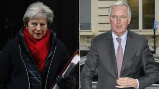 La publication du projet de traité de divorce entre l'UE et le Royaume-Uni, mercredi 28 février 2018, a provoqué une passe d'armes entre Theresa May et Michel Barnier.