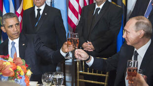 Barack Obama et Vladimir Poutine lors d'un déjeuner à l'ONU le 28 septembre 2015.