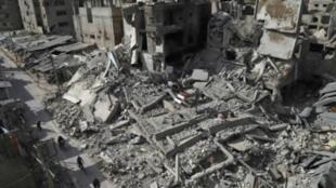 آثار قصف في الغوطة الشرقية