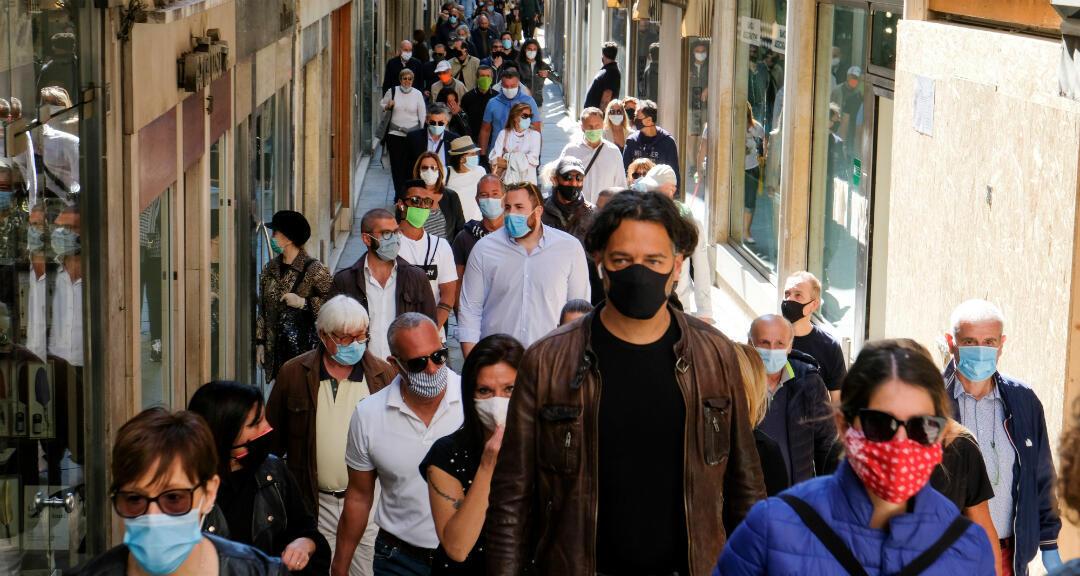 Una protesta organizada por comerciantes venecianos se lleva a cabo en la ciudad el primer día en que Italia comienza un fin gradual de un bloqueo nacional debido a la propagación de la enfermedad por coronavirus. Venecia, Italia , el 4 de mayo de 2020.