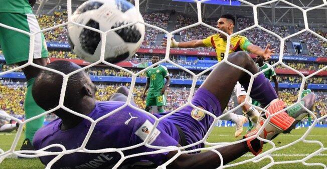 Radamel Falcao celebra el gol de su compañero Yerry Mina frente a Senegal.