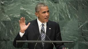 Barack Obama s'exprimant sur la Syrie à la tribune de l'ONU, le 20 septembre 2016.