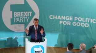 Nigel Farage, lors d'un meeting de campagne, le 11 novembre 2019, à Hartlepool, au Royaume-Uni.