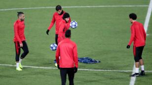 Le PSG à l'entraînement, à Belgrade, le 10 décembre 2018.