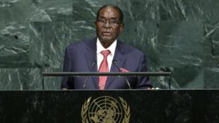 El presidente de Zimbabue Robert Mugabe interviene en la Asamblea General de la ONU. 21/09/2017