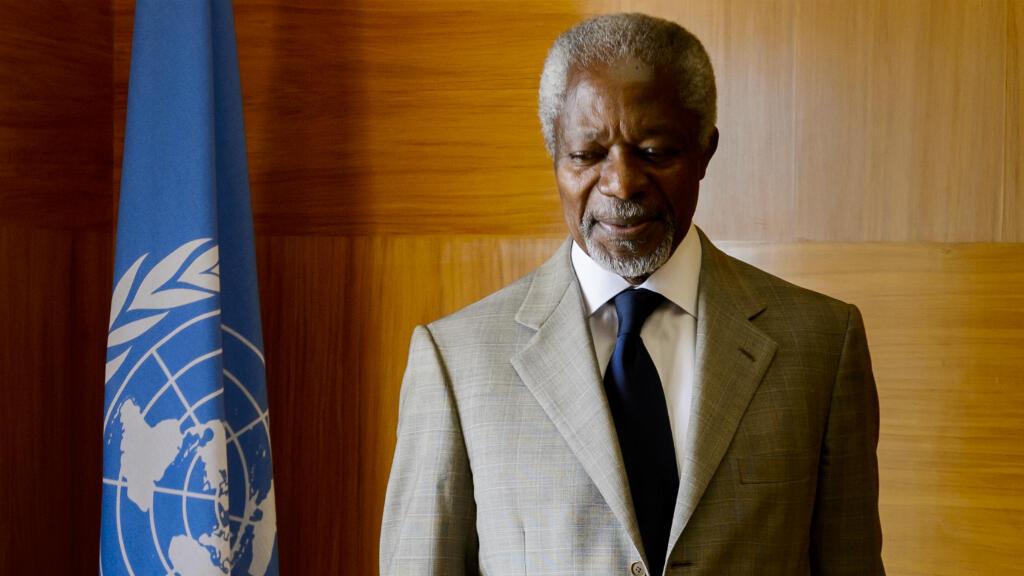 Kofi Annan dans son bureau au siège des Nations unies, le 20 juillet 2012 à Genève.