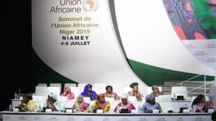 سيدات الدول الأعضاء في الاتحاد الأفريقي خلال اجتماع قصر المؤتمرات في نيامي، 6 يوليو/تموز 2019