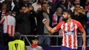دييغو كوستا سجل هدف تأهل أتلتيكو مدريد أمام أرسنال، في 3 أيار/مايو 2018.