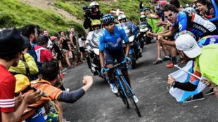 Nairo Quintana, victorieux au sommet du col du Portet.