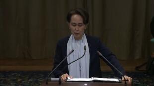 Nobel peace laureate Aung San Suu Kyi addresses the UN's top court in The Hague.