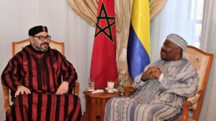 Le président du Gabon, Ali Bongo Ondimba, et le roi du Maroc, Mohammed VI, à Rabat le 3 décembre.