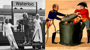 Swedish band Abba at London's Waterloo Station (left) and a cartoon of Prussian leader Marshal Blücher and the Duke of Wellington putting the lid on Napoleon (right).