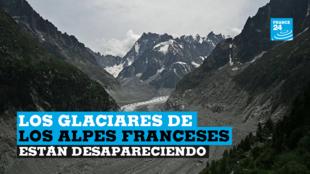 """Captura de pantalla de una imagen en movimiento del """"Mar de glace"""", un glaciar del Mont Blanc, en los Alpes franceses."""