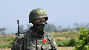 Le joueur sud-coréen de Tottenham Son Heung-min sur une photo non datée prise sur l'île de Jeju et transmise par les Marines le 8 mai 2020