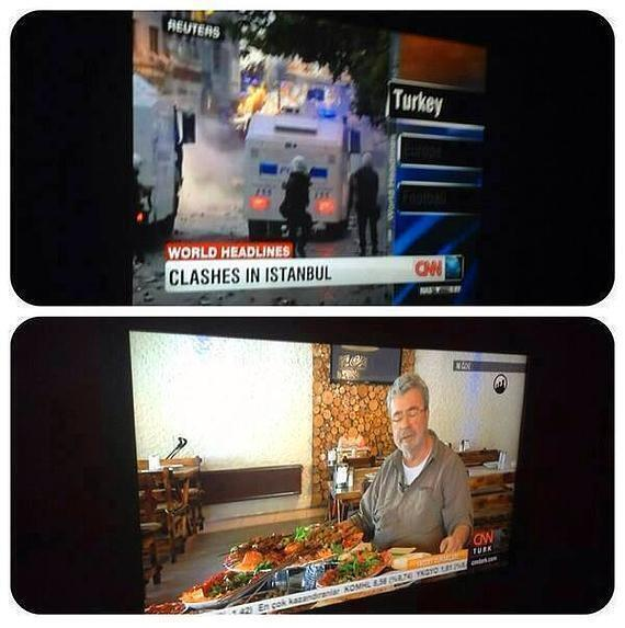 CNN International broadcasts live coverage of Istanbul clashes (above) while CNN Turkey airs a food show (below).