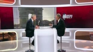 Captura de pantalla de la entrevista de Bruno Le Maire, ministro francés de Economía y Finanzas a RMC y BFM TV en París, Francia, 13 de marzo de 2020