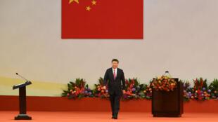 Le président chinois Xi Jinping à l'issue de son discours à Hong Kong, le 1er juillet 2017.