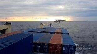 Footage filmed by crew shows a German soldier landing from a helicopter onto the Turkish cargo ship