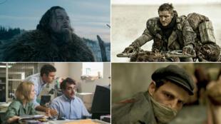 """Photos extraites de """"The Revenant"""", """"Mad Max : Fury Road"""", """"Spotlight"""" et """"Le Fils de Saul""""."""