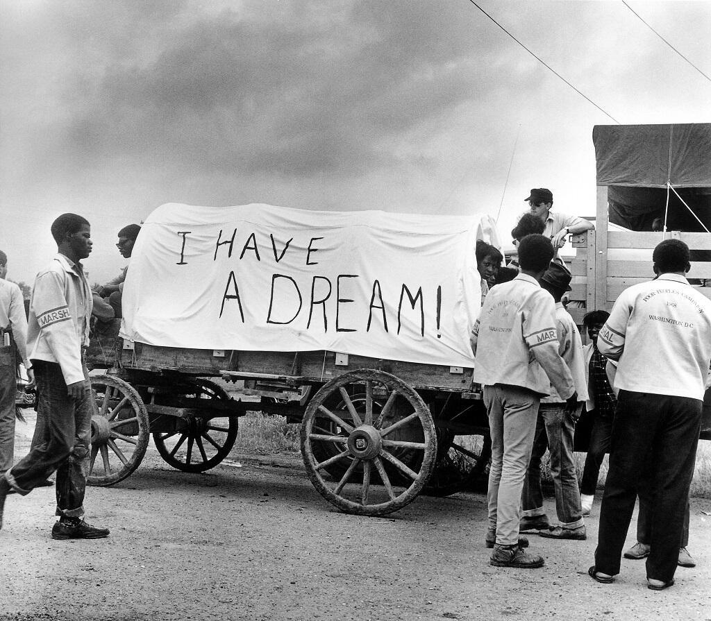 Une charrette en route pour la marche des pauvres de Washington, en 1968.