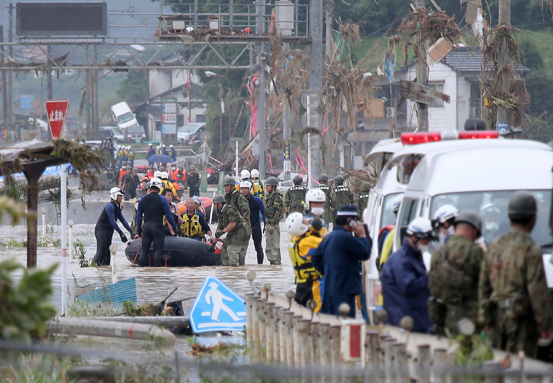 Des inondations et glissements de terrain ont touché l'ouest du Japon, le 5 juillet 2020.