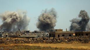 La ciudad de Al-Harak, en la provincia de Deraa fue una de las que más sufrió con los bombardeos. Junio 25 de 2018.
