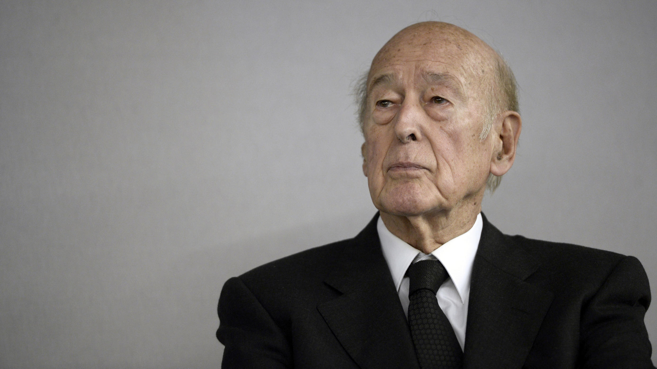 In this file photo taken on October 14, 2014, former French President Valery Giscard d'Estaing is pictured during the opening of the World Nuclear Exhibition (WNE) at Le Bourget, Paris.
