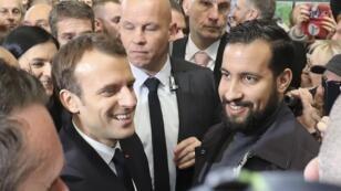 L'ancien conseiller de l'Élysée, Alexandre Benalla, en présence d'Emmanuel Macron, le 24 février 2018.