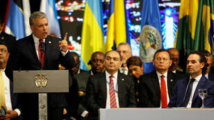 El presidente de Colombia, Iván Duque Márquez, habla durante la ceremonia de apertura de la 49ª Asamblea General de la Organización de los Estados Americanos (OEA) en Medellín, Colombia, 26 de junio de 2019.