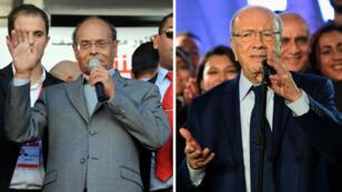 Béji Caïd Essebsi , à gauche, et son adversaire Moncef Marzouki, le 18 décembre