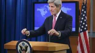 Le secrétaire d'État américain, John Kerry, lors de la présentation du rapport mondial annuel sur les droits de l'Homme. mercredi 13 avril, à Washington.