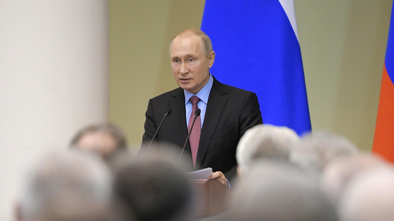 Vladimir Putin, pronuncia un discurso en San Petersburgo, Rusia, el 24 de abril de 2019.