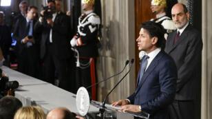 Giuseppe Conte, mercredi 23 mai 2018, au Palais du Quirinal à Rome.