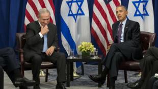 Benjamin Netanyahou et Barack Obama lors de leur dernière rencontre, le 21 septembre 2016 à New York.