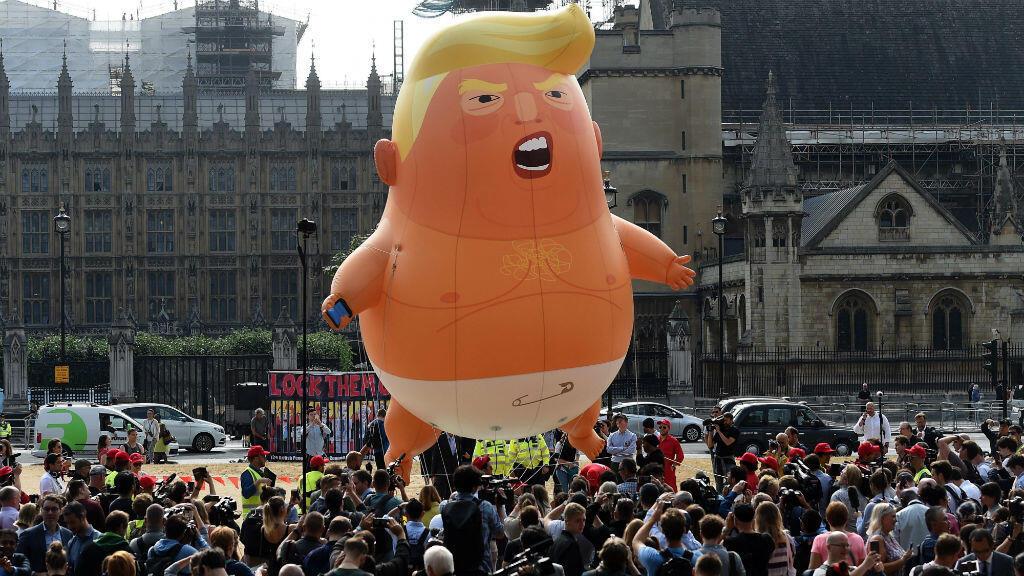 El 'Baby Trump' ante el Parlamento británico el 13 de julio de 2018.
