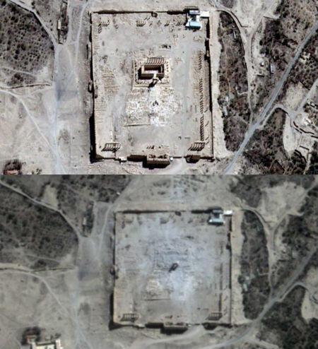 Image satellite du temple de Bel à Palmyre avant et après sa destruction par les militants de l'EI.