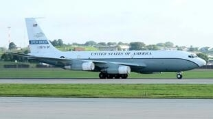 In this image from the US Air Force, an OC-135 Open Skies aircraft prepares to take off on September 14, 2018, from Offutt Air Force Base in Nebraska: the US military is conducting a surveillance flight over Russia as part of an international agreement