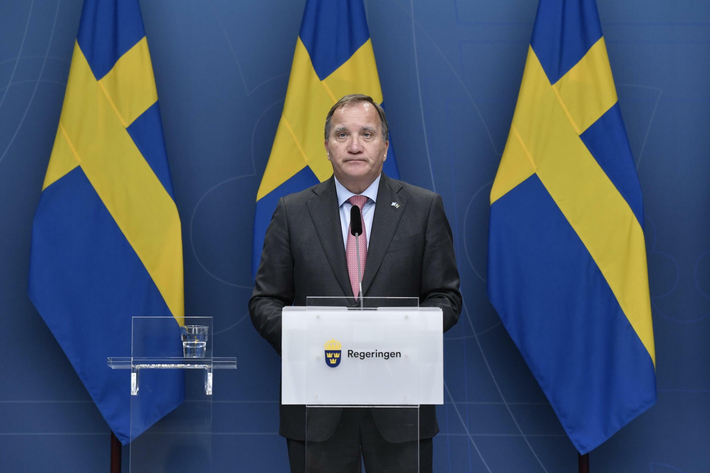 رئيس الوزراء السويدي ستيفان لوفين يعلن استقالته في 28 حزيران/يونيو 2021 في ستوكهولم.