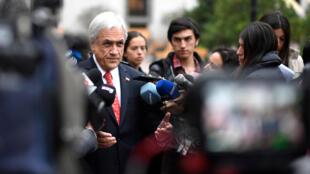 El presidente de Chile, Sebastián Piñera, se refiere laa aprobación de la reforma de pensiones el 16 de mayo de 2019.
