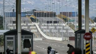 Le pont de Tienditas, à Urena, au Venezuela. Sa fermeture empêche l'accès vers la Colombie voisine.