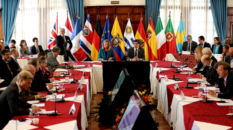 Vista general de los participantes de la II Reunión del Grupo de Contacto sobre Venezuela en Quito, Ecuador, el 28 de marzo de 2019.
