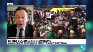 2021-01-22 12:10 Indian farmers reject government offers to suspend reforms, threaten to disrupt India's Republic Day