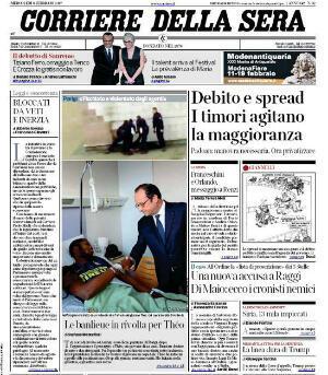 """La """"Une"""" du Corriere della Sera"""
