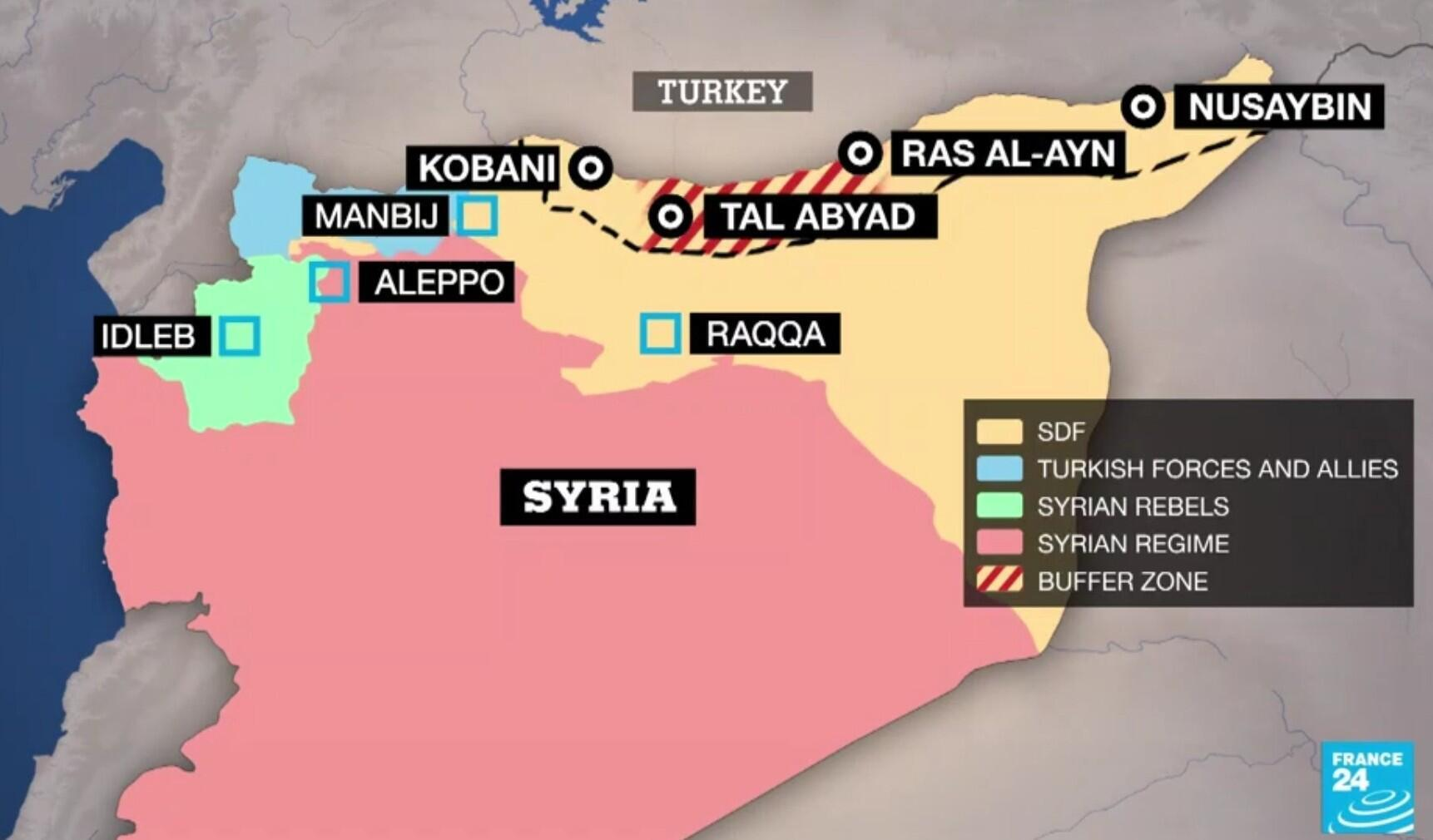 "Turkey has seized control of a ""safe zone"" inside Syria about 120 kilometres long (75 miles) and 32 kilometres deep."