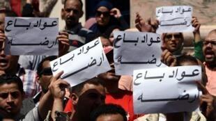 """Des manifestants égyptiens ont scandé """"À bas le régime militaire"""" devant le syndicat au Caire, le 15 avril 2016."""