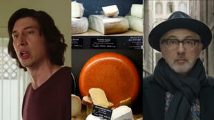 """From left: Adam Driver in """"Marriage Story"""", a cheese display at Beaufils cheesemonger in Paris, Elia Suleiman in """"It Must Be Heaven""""."""